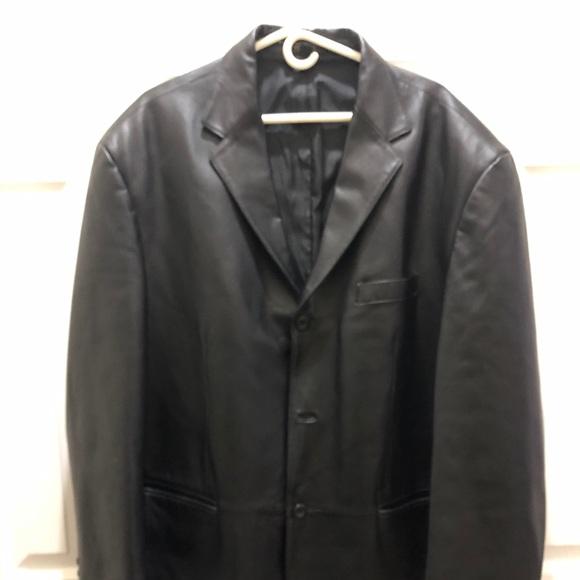 Stafford Men's Leather Jacket Blazer Sport Coat XL